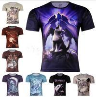 Men New Fashion Wolf Printed 3D Creative T-Shirt,Gothic Punk Three D Short Sleeve Funny T Shirt #1,S-6XL,Plus Size,free shipping