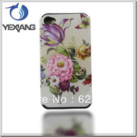 Flower  2 IN 1 Cover Case  For iPhone 4G Plastic with Silicon Phone Cover