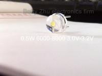 50PCS/LOT 8mm straw hat LED lamp bead are white light 0.5W  F8MM power 0.5W hat light-emitting diode 3.0-3.2 6000-8000K