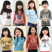 2014 spring cartoon letter girls clothing baby child long-sleeve T-shirt tx-2415 basic shirt