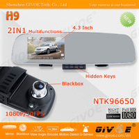 CPAM Free Shipping Unique Hidden Button Full HD H9 Rear View Mirror Car DVR + NTK96650 AR0330 + 170 Degree Angle + 4.3 Inch LCD