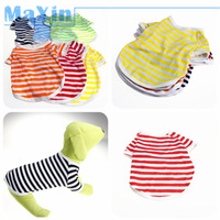 Free shipping Pet Vest Clothing for Dog Soft New Stripe Polo Shirts Unique 100% COTTON Dog's Clothes Waistcoat Colorful XS-XL