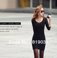 2013 New Fashion Lady Women Lace Dress  O-Neck Evening Mini Dress Black ,Free Shipping Drop shipping