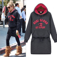2013 fashion plus velvet casual sweatshirt one-piece dress with a hood letter sweatshirt one-piece dress