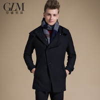 Glm men's clothing winter new arrival fashion woolen outerwear medium-long personality casual wool coat