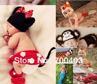 Newborn Baby Handmade Toddler Boy Girl Baby Beanie Costume Animal Hats Caps Sets Taking Photo Photography Props Knit Crochet