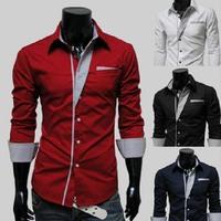 2014  Korean Fashion Slim Streak men's shirts clothing men shirt long sleeve ,brand casual shirt men,long sleeve shirt men