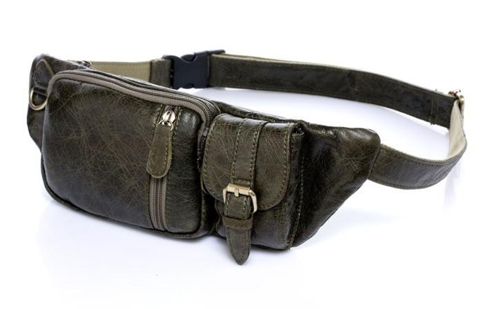 100% Genuine Leather Waist Bag Vintage Cowhide Leather Travel Storage Bag Purse Waist Pack Cards Passport Waist Belt Pouch B296(China (Mainland))
