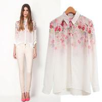 2014 new women chiffon shirt  blouse  fashion fresh flower gradient print long-sleeve plus size XZS4862
