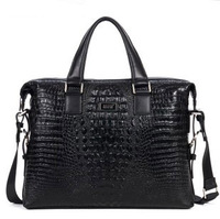 14 inch Notebook PC first layer office cowhide Crocodile commercial handbag briefcase genuine leather man bag 80013-1