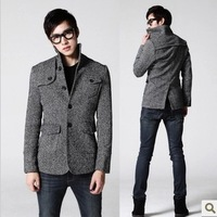2013 autumn winter men wool blend stand collar single breasted short design male slim wool coat outerwear