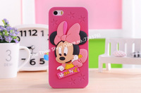 Wholesale 2014 new arrival hot selling soft silicone Cute Minnie Mouse case for iphone 5/5S/5C free ship