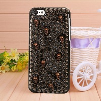 2014 phone shell Red Punk Style Rivet Skull case for iPhone 5c fashion Mobile phone bag Border Protection free shipping
