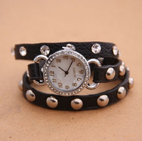 W229 Korean Punk Style Women Fashion Rhinestone Leather Shell Rivet Quartz Wrist Watches Ladies Clock  New 2014 Gift