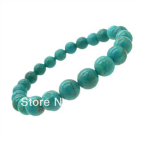 8mm 1pcs Newest StyleFashion Natural Turquoise Jewelry Bracelet for WOMEN&MEN High Quatity Round shape Free Shipping HC361