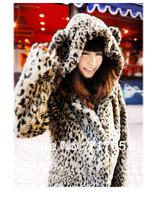 Lovely Ears Tail Leopard Faux Fur Hooded Coat Winter Thicken Jacket