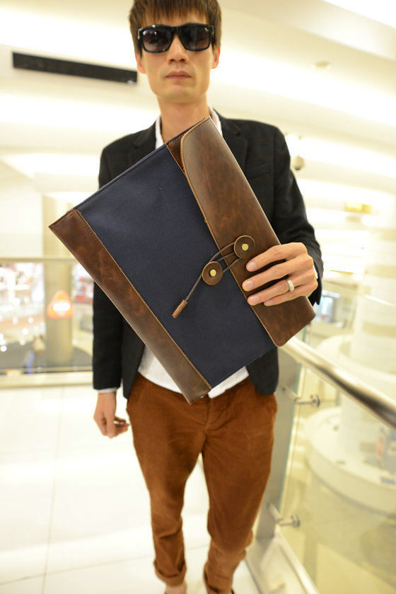 Retro Men's Brief Case Day Clutch Envelope Purse Men Vintage Briefcase M36(China (Mainland))