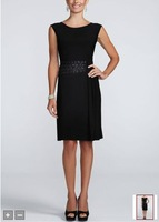 Free Shipping Custom Made Cap Sleeve Jersey Dress with Beaded Waist Detail Style 3540  Evening/Homecoming/Prom Dresses In Stock