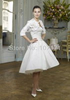 Custom-made Strapless with Jacket Handmade Flower Satin Short Vintage Wedding Dress