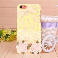New phone shell pearl Resin bow knot lace flower cas for iPhone 5c fashion Mobile phone bag Border Protection free shipping