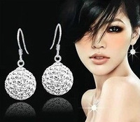 New!10mm Can Choose Color  Crystal Micro Pave Disco Ball Silver Plated Drop shamballa earrings studs women Gift wholesale
