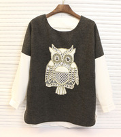 FREE SHIPPING 2014 New Fashion autumn designer Women's patchwork long-sleeve woolen gold owl 100% cotton t-shirt  S022