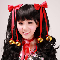 Anime clothes kimono-style dress women's cos maid chokecherry hair accessory bell
