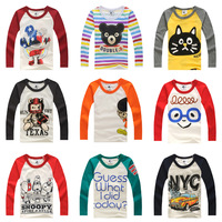 Retail 1pc best sale 2014 spring autumn children cartoon printed long-sleeve bottoming shirt baby casual cotton t-shirt TZ1748
