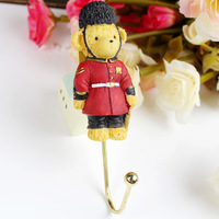 Fashion teddy bear rustic wrought iron wall hook clothes hook decoration door after the coat hooks