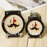 Wholesale 20 PCS EMS Men and women Quartz wrist watch, Stainless steel lover's wrist watch I love mustache Design