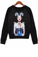 2013 Mujeres Moda Vestido Lifelike Girl Graphic Sweatshirt, Free Shipping