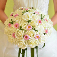 Free Shipping, White Rose Wedding Bouquet Accessories Photography Props/Simulation Takes/Bride Artificial Flower Bouquet, PH0069