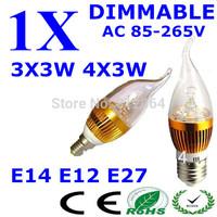 1PCS E14/E12 E27 3x3W 9W 4X3W 12W Dimmable AC85~265V Warm White /Cool White /White LED Candel Light LED bulb lamp LED spot Light