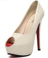 2014 New Fashion European 14cm Red Bottom Sexy Platform Thin-heels Fish Head  Elegant  Ladies Pumps