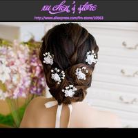 FREE SHIPPING romantic yarn crystal simulated-pearl white flower shape bridal hairwear wedding party hair jewelry hair sticks