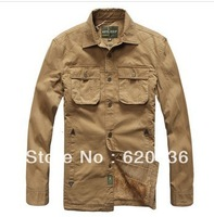 Hot-sale! 2013 New  Men's Casual Warm Thick Long-sleeved Cotton Shirt Solid Color Plus Size Outdoor Leisure Shirt 13722