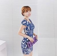 New 2014 spring 7colors S,M,LXL,XXL,3XL, fashion dresses vintage dress women Chinese style print dress plus size dress SYY0222