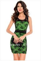 Free shipping lace decoration fashion sleeveless summer fashion sexy high waist one-piece dress 2806