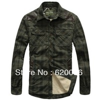Hot-sale! 2013 New  Men's Casual Warm Thick Long-sleeved Cotton Shirt  Plus Size Outdoor Leisure Plaid Shirt 13723,Free Shipping
