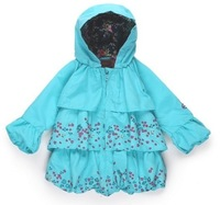 Retail 100% cotton baby girl's long sleeve fashion coats 2014 autumn blue flower hooded outwear children's clothing kids wear