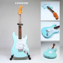 Fender Stratocaster light blue John Lennon Guitar Miniature Figure Gift w/ Stand New Creative Mini Children Educational Guitar(China (Mainland))
