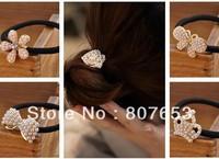 Free Shipping 10pcs HOT US Girls White Pearl Crystal Rhinestone Flower Ponytail Holder Hair Rope Band 18 Design Mix