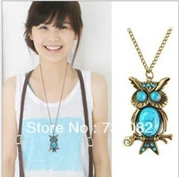 Owl  long Necklace Vintage Style Imitation Turquoise Pendant Fashion Cheap Jewelry