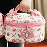New Arrival Cute Zipper Flower Cosmetic Box Makeup Bag Storage Organizer Case Hand Clutch 27x15cm Hot Sale BFSH-28