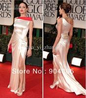 2012 Angelina Jolie Golden Globes Sheath Asymmetrical Two Toned Elastic Satin Slit Celebrity Dress