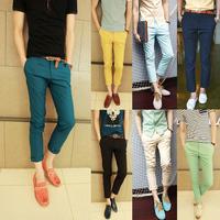 Free shopping new 2014 summer men's fashion solid color pants slim fit ankle length dress skinny pants men 12-colors /DK2
