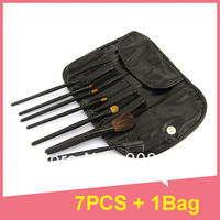 7 PCS MakeUp Brush Cosmetic Set  Eyeshadow wood Brush Blusher Tools +Black leather Bag