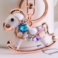 2014 new fashion opal Trojan horse Women charming car key chain bag clasp, free shipping