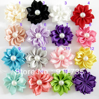 Free shipping! 3.5CM 100pcs Mini Satin Ribbon Pearl Flowers Flat Back DIY Photography Props Baby Flower Headbands Accessories