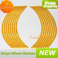 Blue/Yellow/Red 16 Strips Wheel Reflective Car Motorcycle Rim Sticker Wheel Rim Stripe Decal Sticker PVC Rim Sticker